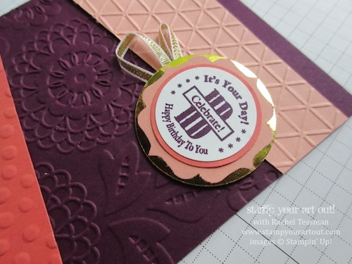 A card with fun colors & angles textured with several embossing folders and stamped with a personalized Circle Monogram image… #stampyourartout #stampinup - Stampin' Up!® - Stamp Your Art Out! www.stampyourartout.com