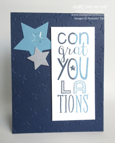 A fun and easy Congrats card made with the Bravo stamp set - Stampin' Up! - Stamp Your Art Out! www.stampyourartout.com