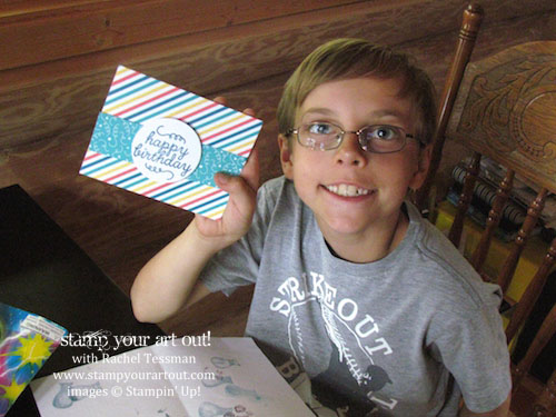 Nicholas was excited to make a birthday card and gift bag for his cousin Max this weekend. I'm so glad I had my May 2015 Paper Pumpkin kit with me!… #stampyourartout #stampinup - Stampin' Up!® - Stamp Your Art Out! www.stampyourartout.com