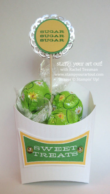Fry Box done up in Cucumber Crush and Daffodil Delight colors with All About Sugar stamp set…#stampyourartout #stampinup - Stampin' Up!® - Stamp Your Art Out! www.stampyourartout.com