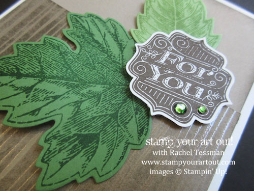 Thank you card made with Vintage Leaves and Tag Talk stamp sets and Color Me Irresistible Designer paper… #stampyourartout #stampinup - Stampin' Up!® - Stamp Your Art Out! www.stampyourartout.com