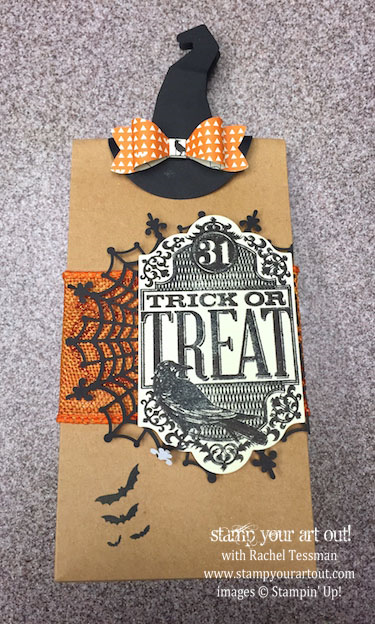 Witch's Hat Clip on a bag decorated with a Spider Web Doily and images from the Witches' Night stamp set - by Carol Nelson… #stampyourartout #stampinup -  Stampin' Up!® - Stamp Your Art Out! www.stampyourartout.com