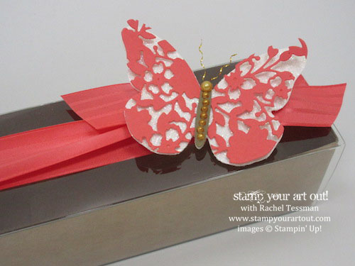 Watermelon Wonder butterfly box – butterfly is die-cut with the Bloomin' Heart Thinlit (from the 2016 Occasions Catalog) and then the Bold Butterfly Framelit...#stampyourartout #stampinup - Stampin' Up!® - Stamp Your Art Out! www.stampyourartout.com