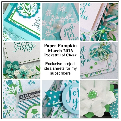 My subscribers get 12-14 exclusive ideas each month. This is a peek at 9 of the March 2016 Pocket Full Of Cheer Paper Pumpkin kit exclusive alternate projects… #stampyourartout #stampinup - Stampin' Up!® - Stamp Your Art Out! www.stampyourartout.com