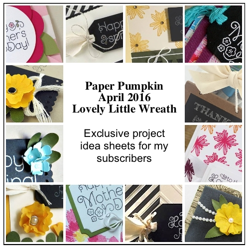 My subscribers get 12-14 exclusive ideas each month. This is a peek at 12 of the April 2016 Lovely Little Wreath Paper Pumpkin kit exclusive alternate projects… #stampyourartout #stampinup - Stampin' Up!® - Stamp Your Art Out! www.stampyourartout.com