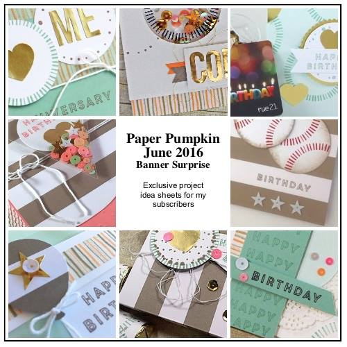 My subscribers get 12-14 exclusive ideas each month. This is a peek at 8 of the June 2016 Banner Surprise Paper Pumpkin kit exclusive alternate projects… #stampyourartout #stampinup - Stampin' Up!® - Stamp Your Art Out! www.stampyourartout.com