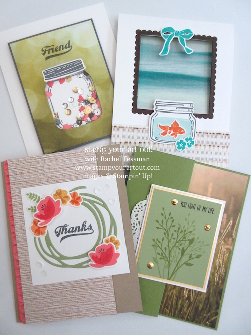 Jar of Love Themed Card Class – cards made with Serene Scenery designer paper and Jar of Love stamp set… #stampyourartout - Stampin' Up!® - Stamp Your Art Out! www.stampyourartout.com