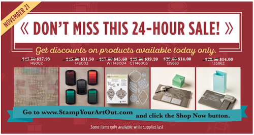 Online Extravaganza! Up to 40% off select products November 21-21, 2016! Click here for details… #stampyourartout - Stampin' Up!® - Stamp Your Art Out! www.stampyourartout.com