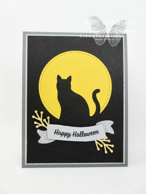 Full Moon & cat card made with the Cat Punch, Stitched Shapes Framelits, Bunch of Banners Framelits & Spooky Cat stamp set...#stampyourartout - Stampin' Up!® - Stamp Your Art Out! www.stampyourartout.com