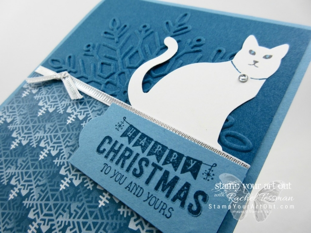 Snowy white cat card made with the Cat Punch, Winter Wonder Embossing Folder, Color Theory Memories & More Card Pack...#stampyourartout - Stampin' Up!® - Stamp Your Art Out! www.stampyourartout.com
