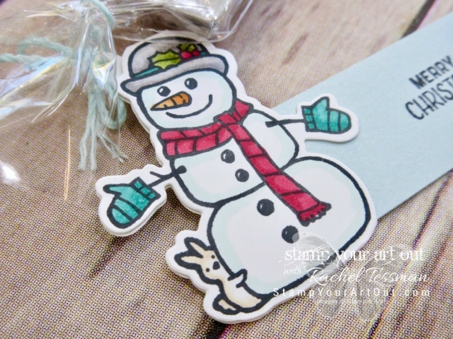 Cute candy treats - treat toppers decorated with Seasonal Chums snowman image colored with Stampin' Blends markers…#stampyourartout - Stampin' Up!® - Stamp Your Art Out! www.stampyourartout.com