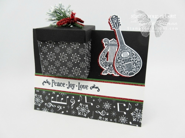 A Music-Themed Gift Box In A Card project created with the Musical Season Stamp Set, the Musical Instruments Framelits Dies, and the Merry Music Specialty Designer Paper from the Holiday Catalog...#stampyourartout #stampinup - Stampin' Up!® - Stamp Your Art Out! www.stampyourartout.com