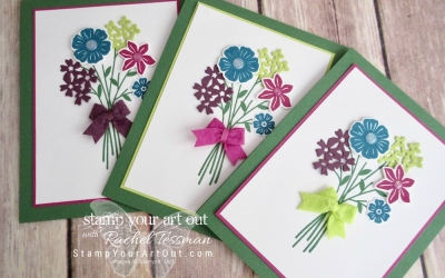 Set of Three Beautiful Bouquet Cards