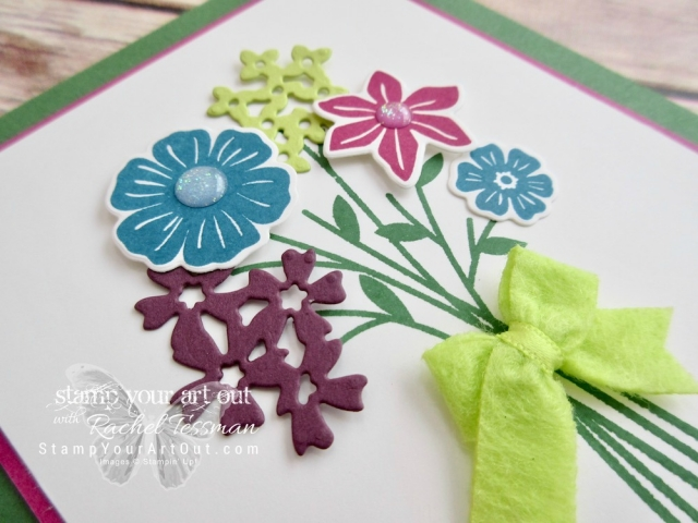 Three floral cards created with the Beautiful Bouquet stamp set, In Color Bitty Bows and Glitter Enamel Dots ...#stampyourartout - Stampin' Up!® - Stamp Your Art Out! www.stampyourartout.com