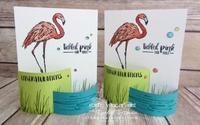 Flamingo Vertical Bendi Fun Fold Card
