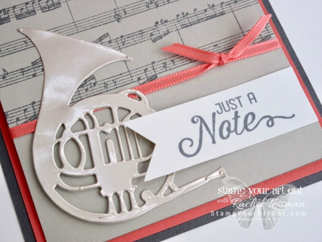 """""""Just a Note"""" music-themed greeting cards created with Stampin' Up!'s Flourishing Phrases and Sheet Music stamp sets, Musical Instruments Framelits Dies, and the Gold, Silver and Champagne Foil papers...#stampyourartout - Stampin' Up!® - Stamp Your Art Out! www.stampyourartout.com"""