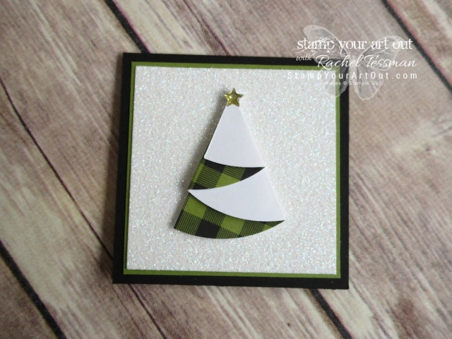 "Christmas tree tag/mini card created with the October 2017 ""Pining for Plaid"" Paper Pumpkin kit!…#stampyourartout - Stampin' Up!® - Stamp Your Art Out! www.stampyourartout.com"