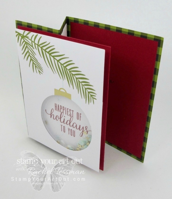 "Z-fold card created with the October 2017 ""Pining for Plaid"" Paper Pumpkin kit – great fold for showing/sharing family photo!…#stampyourartout - Stampin' Up!® - Stamp Your Art Out! www.stampyourartout.com"