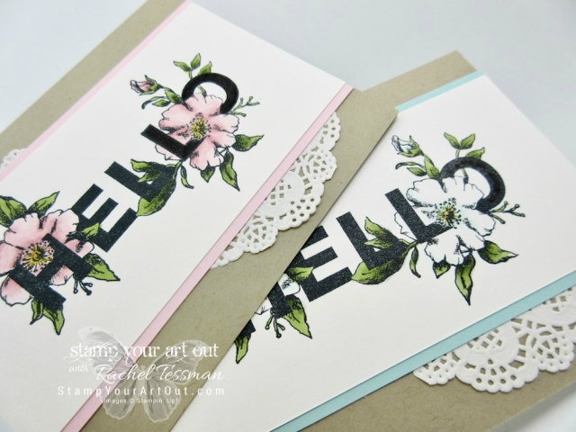 Hello Cards stamped with image from Floral Statements stamp set and colored in with Stampin' Blends Markers ...#stampyourartout - Stampin' Up!® - Stamp Your Art Out! www.stampyourartout.com