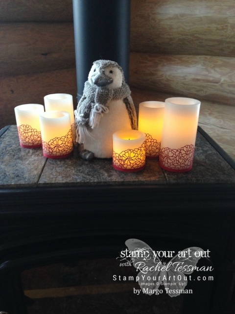 Winder/holiday decorating idea – wrap flameless LED candles with delicate die-cuts. These candles were wrapped with So Detailed Thinlits dies from the 2017 Occasions Catalog....#stampyourartout #stampinup - Stampin' Up!® - Stamp Your Art Out! www.stampyourartout.com