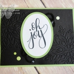 Oh Joy! Card created with the Winter Wonder embossing folder, Black Sequin Trim, & Glitter Enamel Dots and stamped with an awesome all-occasion image from Watercolor Christmas...#stampyourartout #stampinup - Stampin' Up!® - Stamp Your Art Out! www.stampyourartout.com