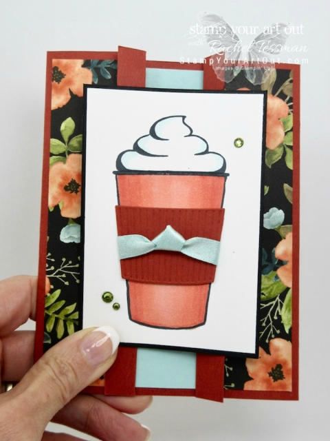 Coffee Café Peeking Gate Fold Card colored in with the new Stampin' Blends alcohol-based markers...#stampyourartout #stampinup - Stampin' Up!® - Stamp Your Art Out! www.stampyourartout.com