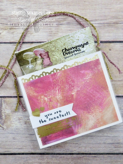 An adorable gift…I cut an Acetate Box down to turn it into a gift bag! This one is fancied up with Painted Love With Specialty Designer Paper, Painted Love Gold Vinyl Stickers, and a stamp image from the Fruit Basket stamp set – all debuting in the 2018 Occasions Catalog...#stampyourartout #stampinup - Stampin' Up!® - Stamp Your Art Out! www.stampyourartout.com