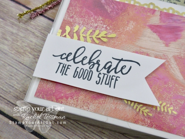 An adorable gift…I cut an Acetate Box down to turn it into a gift bag! This one is fancied up with Painted Love With Specialty Designer Paper, Painted Love Gold Vinyl Stickers, and a stamp image from the Picture Perfect Birthday stamp set – all debuting in the 2018 Occasions Catalog...#stampyourartout #stampinup - Stampin' Up!® - Stamp Your Art Out! www.stampyourartout.com