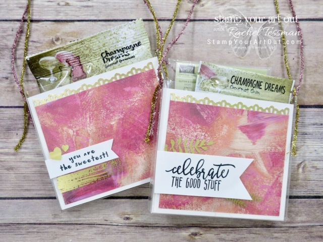 An adorable gift idea…I cut an Acetate Box down to turn it into a gift bag! These are fancied up with Painted Love With Specialty Designer Paper, Painted Love Gold Vinyl Stickers, and a stamp image from either the Fruit Basket stamp set or the Picture Perfect Birthday stamp set – all debuting in the 2018 Occasions Catalog...#stampyourartout #stampinup - Stampin' Up!® - Stamp Your Art Out! www.stampyourartout.com