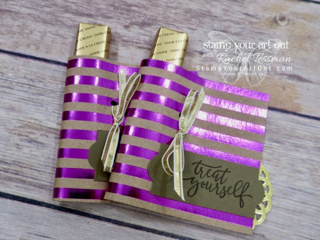 Merci Chocolate wraps made with Foil Frenzy Specialty Designer Paper, Picture Perfect Stamp Set, and the Everyday Label Punch!...#stampyourartout #stampinup - Stampin' Up!® - Stamp Your Art Out! www.stampyourartout.com