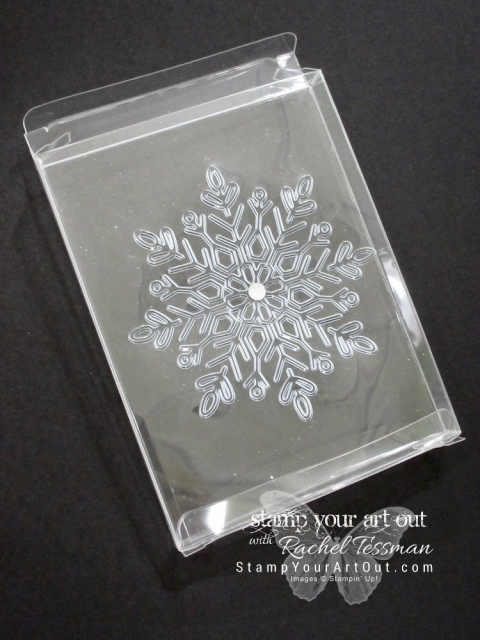 Quick holiday gifting idea – emboss the acetate card box and fill it with goodies...#stampyourartout #stampinup - Stampin' Up!® - Stamp Your Art Out! www.stampyourartout.com