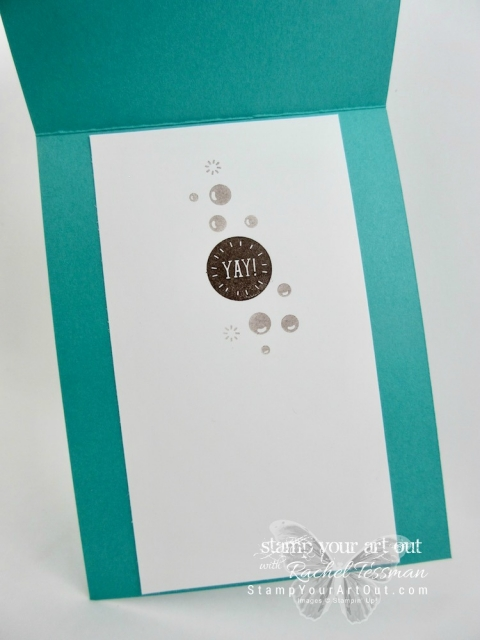 A toast to your special day! This greeting card is made with products in the new Bubble Over collection – the Bubble Over stamp set, the Bottles and Bubbles Framelit Dies, the Glitter & Clear Epoxy Shapes, and the Bubbles & Fizz Designer Paper (free Sale-a-Bration item). Measurements and instructions can be found here...#stampyourartout #stampinup - Stampin' Up!® - Stamp Your Art Out! www.stampyourartout.com