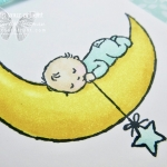 Sweet sleeping baby on the moon card stamped with Moon Baby stamp set and colored with Stampin' Blends markers ...#stampyourartout #stampinup - Stampin' Up!® - Stamp Your Art Out! www.stampyourartout.com
