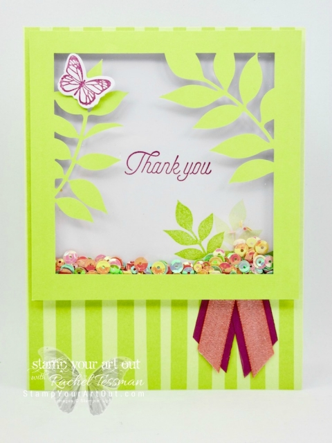 Click here to see photos of (and get tips for recreating) a photo pocket page layout, a cute fishy card and a pretty shaker card!...all projects created with the December 2017 Flora and Flutter Paper Pumpkin kit! ...#stampyourartout #stampinup - Stampin' Up!® - Stamp Your Art Out! www.stampyourartout.com