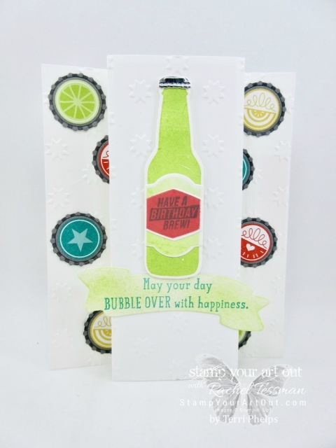 This fun fold card by Terri Phelps is made with products in the new Bubble Over Bundle – the Bubble Over stamp set, the Bottles and Bubbles Framelit Dies...#stampyourartout #stampinup - Stampin' Up!® - Stamp Your Art Out! www.stampyourartout.com