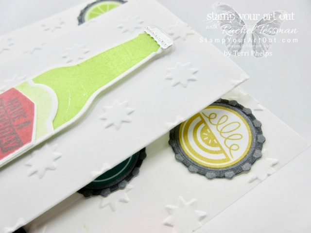 This fun fold card is made with products in the new Bubble Over Bundle – the Bubble Over stamp set, the Bottles and Bubbles Framelit Dies...#stampyourartout #stampinup - Stampin' Up!® - Stamp Your Art Out! www.stampyourartout.com