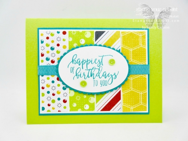 This fun card by Sandy Carlson is made with a sentiment from the Picture Perfect Birthday stamp set and the Bubbles & Fizz Designer Paper (a free Sale-a-Bration item with a $50 product order)...#stampyourartout #stampinup - Stampin' Up!® - Stamp Your Art Out! www.stampyourartout.com