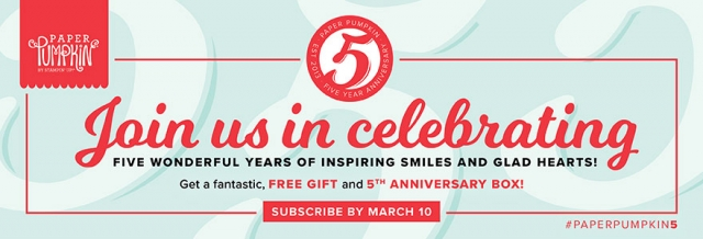 Happy Anniversary Paper Pumpkin! Get your free gift with the March 2018 kit. Subscribe or reactivate your account by March 10, 2018 ...#stampyourartout #stampinup - Stampin' Up!® - Stamp Your Art Out! www.stampyourartout.com