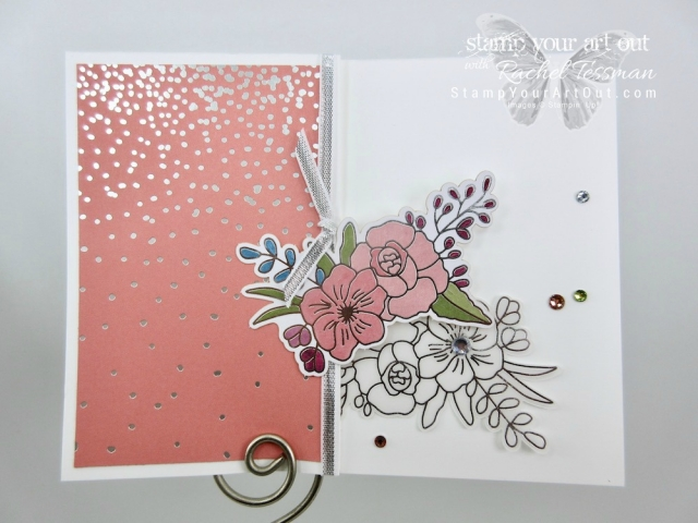Click here to see measurements and directions for making this pretty z-fold invitation using the Sweet Soirée products: the designer paper and embelliments kit....#stampyourartout #stampinup - Stampin' Up!® - Stamp Your Art Out! www.stampyourartout.com