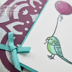 Click here for supplies, measurements AND to watch my quick video to see how I made this Belated Birthday Bird Banter fun-fold card. I walk you through the steps the using embossing paste, Stampin' Blends alcohol-based markers, and the new Stamparatus tool...#stampyourartout #stampinup - Stampin' Up!® - Stamp Your Art Out! www.stampyourartout.com