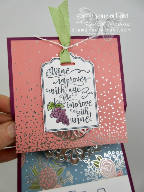 Click here for supplies, measurements AND to watch my quick video to see how to make this Vertical Stretch Fun-Fold Card using a 2017 Holiday Catalog carry-over stamp set, Half Full, the 2018 Occasions Catalog Sweet Soirée designer paper, and Stampin' Blends alcohol-based markers....#stampyourartout #stampinup - Stampin' Up!® - Stamp Your Art Out! www.stampyourartout.com