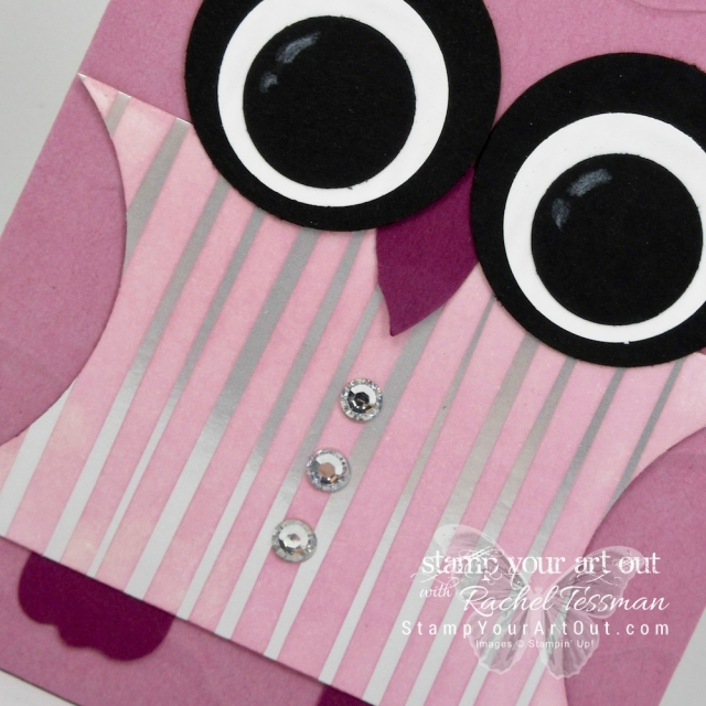 A cute punch art owl note card created with sponged Springtime Foils Designer Paper (a 2018 Sale-a-Bration freebie through March 2018) and 2016-18 In Colors, Sweet Sugarplum and PeekaBoo Peach....#stampyourartout #stampinup - Stampin' Up!® - Stamp Your Art Out! www.stampyourartout.com