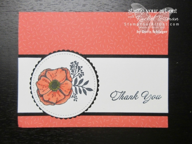 A pretty thank you card from Doris Schlager stamped with Amazing You stamp set on a Tutti-Frutti Card Base (two 2018 Sale-a-Bration freebies through March 2018)....#stampyourartout #stampinup - Stampin' Up!® - Stamp Your Art Out! www.stampyourartout.com