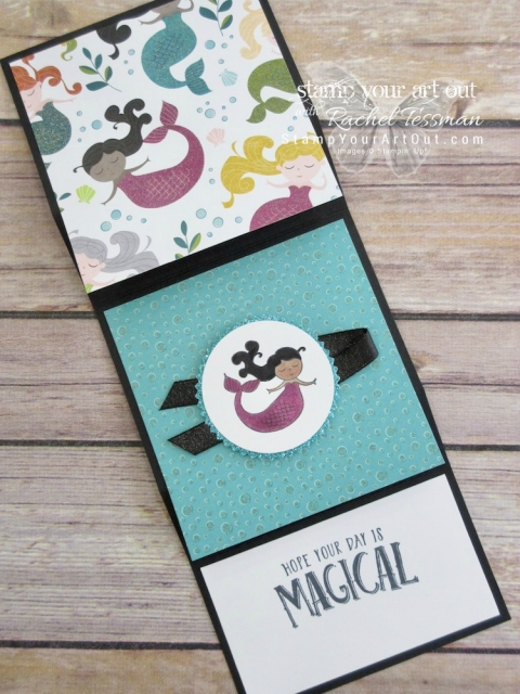 Click here for supplies, measurements AND tips for how to make this Vertical Stretch Fun-Fold Card using the 2018 Occasions Catalog Myths & Magic designer paper, Magical Day stamp set, and Stampin' Blends alcohol-based markers....#stampyourartout #stampinup - Stampin' Up!® - Stamp Your Art Out! www.stampyourartout.com