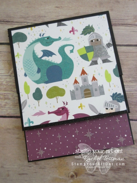 Click here for supplies, measurements AND tips for how to make a Vertical Stretch Fun-Fold Card using the 2018 Occasions Catalog Myths & Magic designer paper, Magical Day stamp set, and Stampin' Blends alcohol-based markers....#stampyourartout #stampinup - Stampin' Up!® - Stamp Your Art Out! www.stampyourartout.com