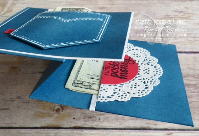 "Click here for supplies and measurements for how to make this denim pocket z-fold card using set images from Pocketful of Sunshine, coordinating Pocket Framelits dies, and some fun embellishments. Plus you can see another fun denim pocket card and view its quick ""how-to"" video…#stampyourartout #stampinup - Stampin' Up!® - Stamp Your Art Out! www.stampyourartout.com"