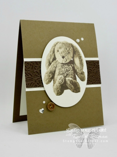"Adorable bunny card made with Sweet Little Something stamp set and the Petal Pair embossing folders. A easy layout makes a great Easter, Baby or ""Hip Hop Hooray"" card...#stampyourartout #stampinup - Stampin' Up!® - Stamp Your Art Out! www.stampyourartout.com"