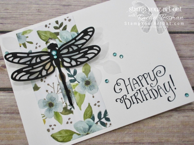 Click here for supplies, measurements AND to watch my quick video to see how to make this super pretty dragonfly closure card using the Detailed Dragonfly Thinlits, Better Together Stamp Set, and Petal Garden Designer Paper...#stampyourartout #stampinup - Stampin' Up!® - Stamp Your Art Out! www.stampyourartout.com
