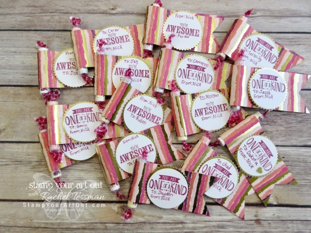 Quick and easy Valentine treats made with Painted With Love designer paper, a few punches, and Gold Foil paper…stampyourartout #stampinup - Stampin' Up!® - Stamp Your Art Out! www.stampyourartout.com