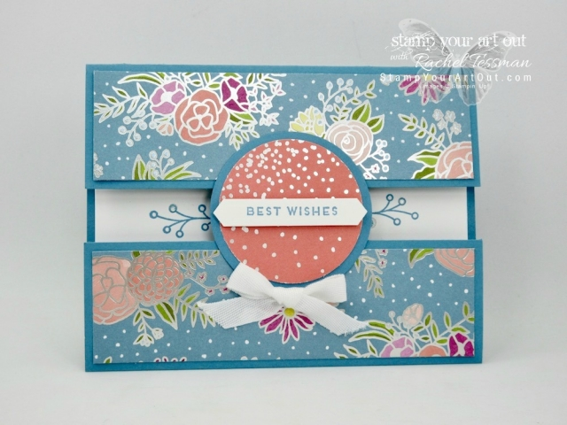 Click here for supplies, measurements AND to watch my quick video to see how to make a Peek-a-Boo Gate Fold Card with Bow Closure …#stampyourartout #stampinup - Stampin' Up!® - Stamp Your Art Out! www.stampyourartout.com